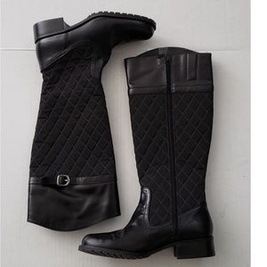 Talbot Black Quilted Fabric/Leather Boots